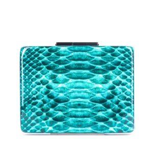 Turquoise Python Clutch