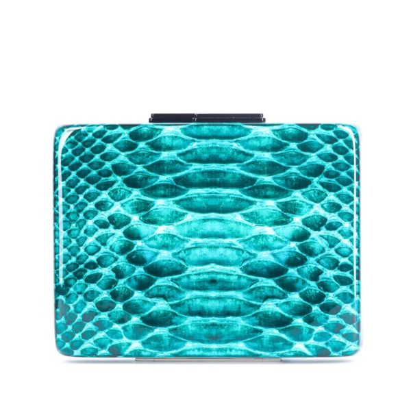 Turquoise Python Clutch