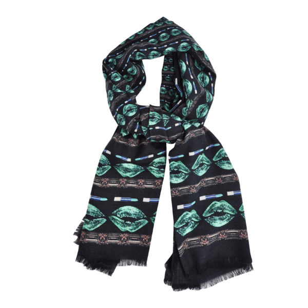 Green-Lips and Diamonds Scarf by Yazi