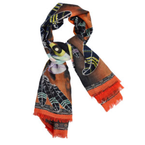 Red Indian Orange scarf by yazi